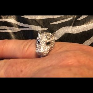Jewelry - Sterling silver panther ring 'emerald' eyes